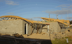 Curved Trusses Built Into Roof